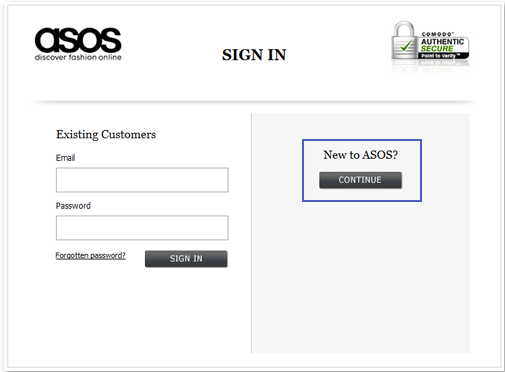 ASOS Checkout after
