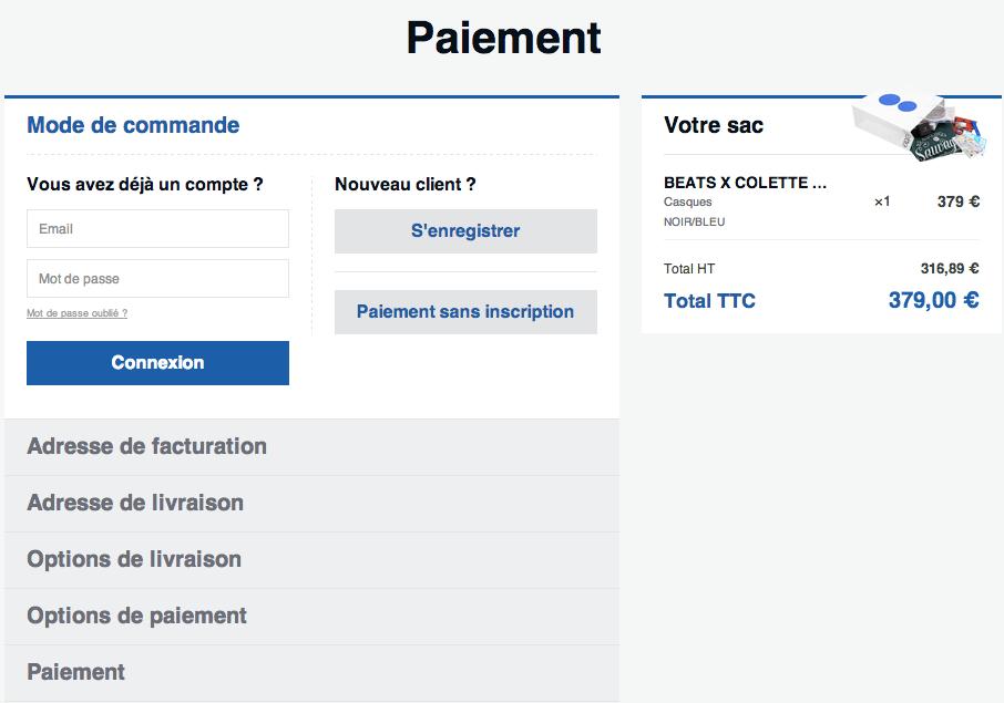 Colette.fr Magento guest checkout