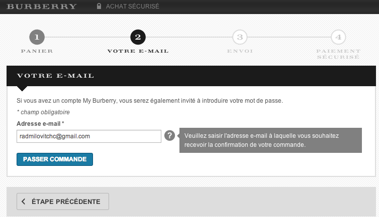 page d'identification site e-commerce Burberry