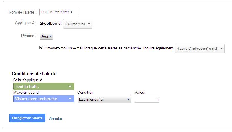 alerte Google Analytics zero recherche