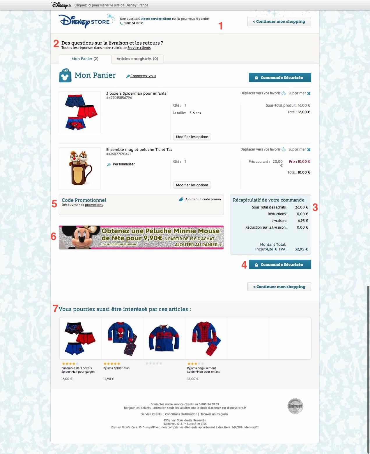 Panier e-commerce DisneyStore