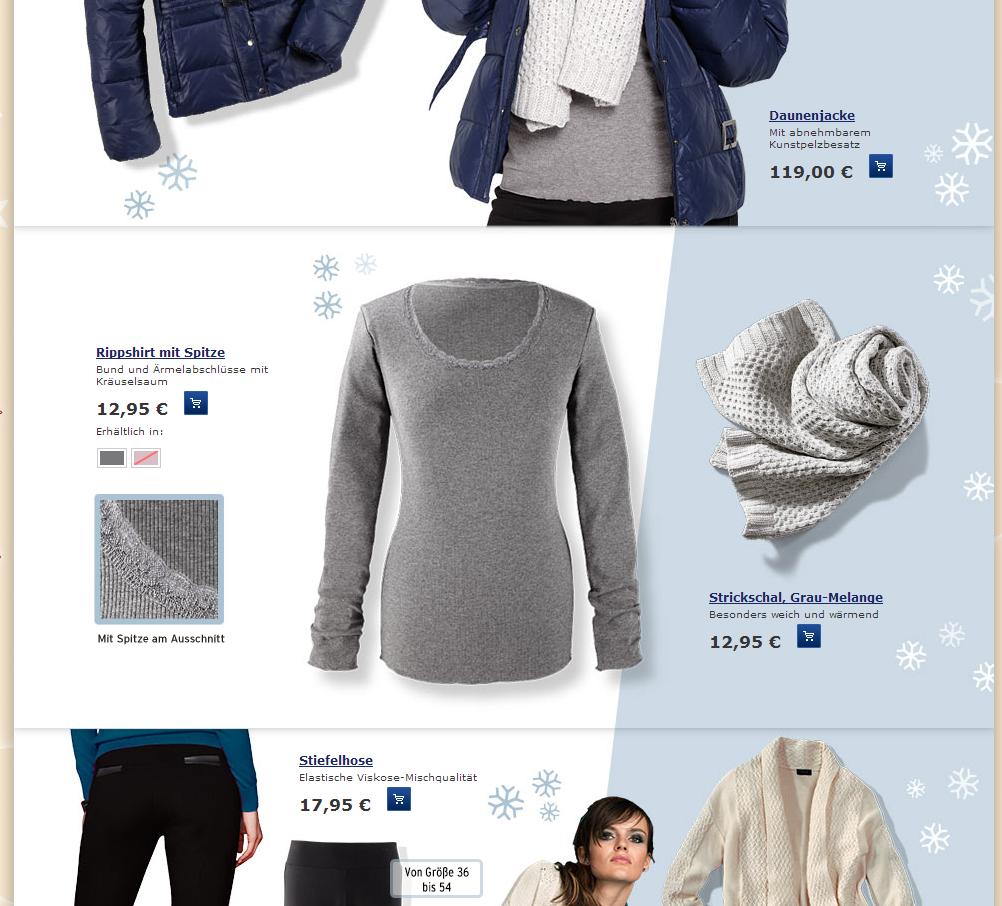Navigation catégorie Tchibo - Ergonomie E-commerce