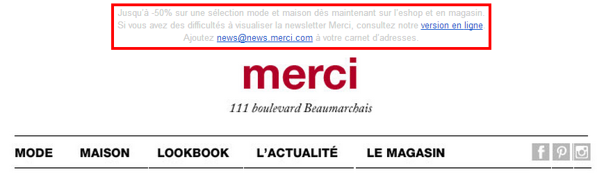 Newsletter Boutique Merci