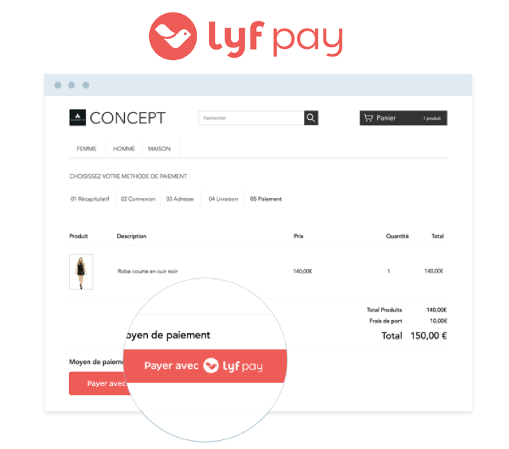 Lyf Pay, Pour payer avec son smartphone sur les sites e-commerce pour améliorer la conversion sur Mobile