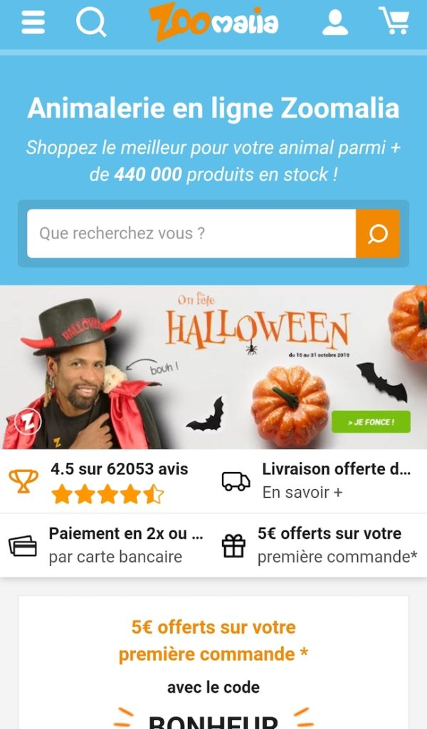 Page d'accueil Zoomalia. Conversion sur smartphone