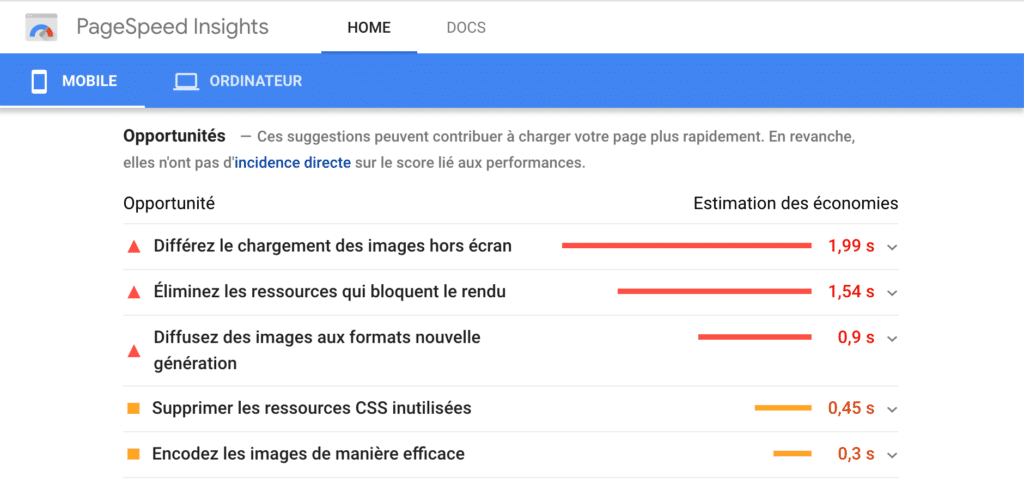 Google Page Speed Insight- audit de site e-commerce
